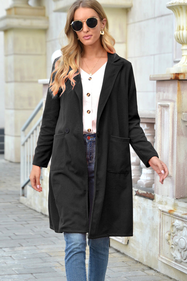 Buttons Woolen Lapel Solid Color Long coat