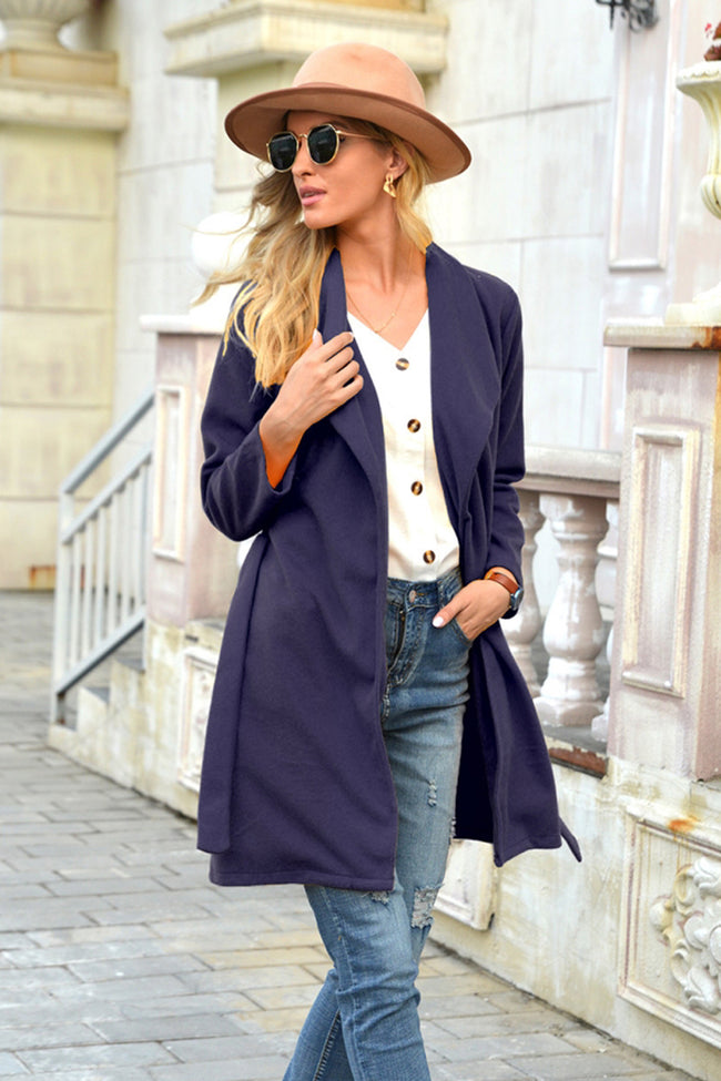 Woolen Lapel Tie Long coat