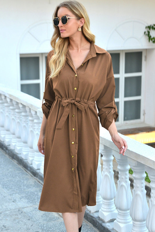 Button Tie Lapel Long-Sleeved Dress