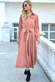 Single Breasted Long-Sleeved Mid-Length Dress