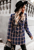 Woolen Print Lapel Mid-Length Coat