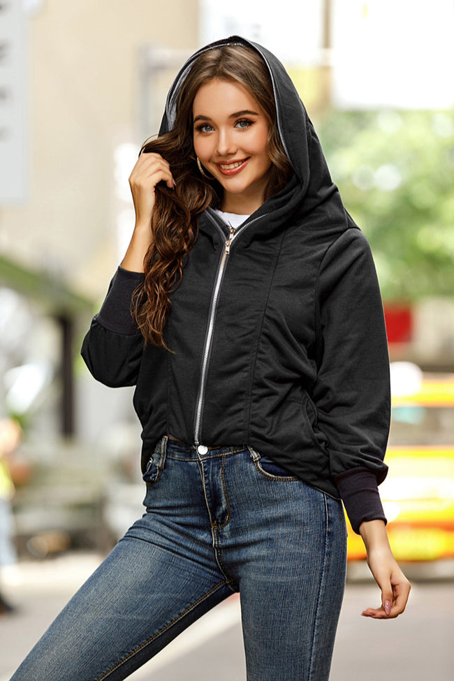 Solid color Double Zip Hooded Jacket