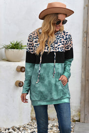 Leopard Patchwork Hooded Tops
