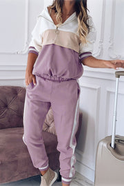 Patchwork Hooded Long-Sleeved Pants Set