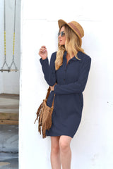 Solid Color Long-Sleeved Lapel Dress