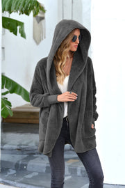 Plush Mid-Length Lapel Hooded Jacket