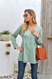 Mid-Length V-Neck Long Sleeve Shirt