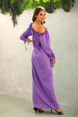 Off The Should Solid Color Long Dress