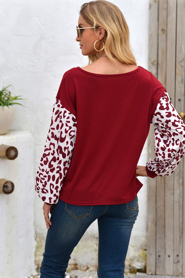 Cross Collar Leopard Sleeve T-shirt
