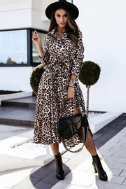 Long Sleeve Leopard Printed Dress