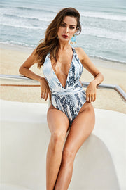 Printed Open Back Belly-Cover One-Piece Swimsuit