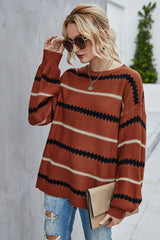Striped Contrast Long-sleeved Sweater