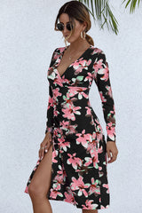 V-neck Printed Drawstring Long Sleeve Dress