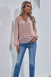 Loose V-neck Embroidered Shirt