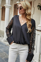 Lace Panel Chiffon V-neck Top