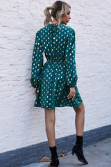Half High Neck Polka Dot Dress