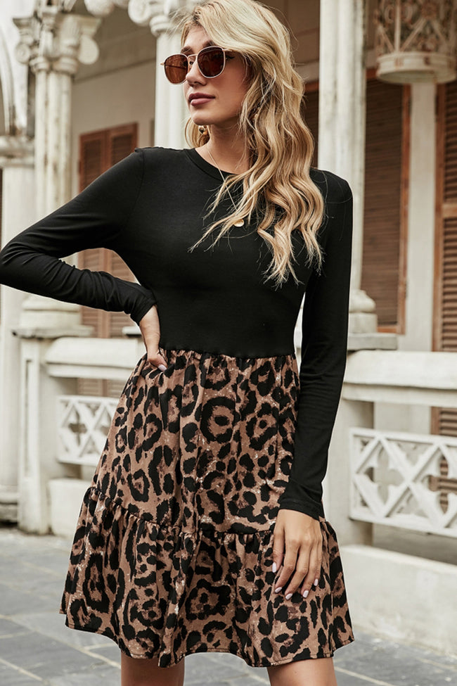 Patchwork Retro Leopard Print Dress