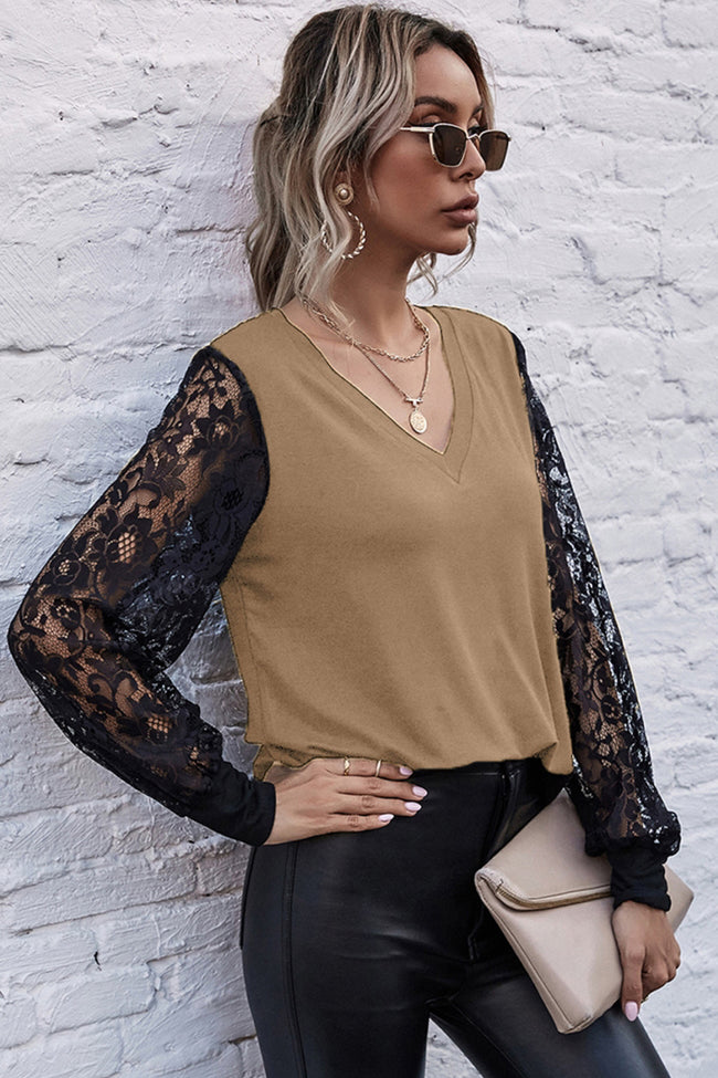 V-neck Stitching Lace Sleeve Top