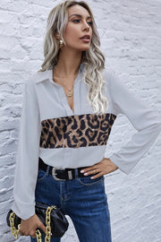 Panelled Leopard Print Long Sleeve Shirt