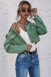 Denim Lapel Short Jacket