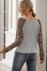 Leopard Print Stitching V-neck Off-shoulder Top