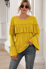 Ruffle Stitching Long-sleeved Solid Color T-shirt