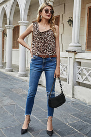 Leopard Print Draped Strap Top