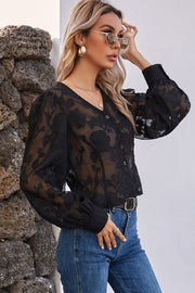 Sheer Embroidery Long Sleeve Shirt