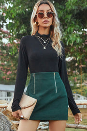 High Waist Zip Skirt