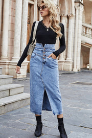 Buttoned Slit Denim Skirt