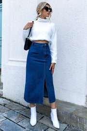High-waisted Denim Irregular Skirt