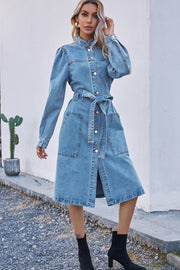 Denim Waist Long Sleeve Dress