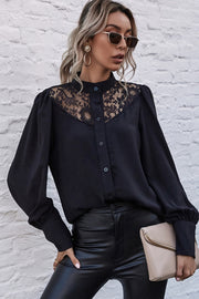 Hollow Lace Lantern Sleeve Shirt