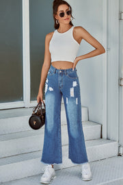 Ripped Denim Straight-leg Trousers