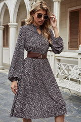 V-neck Floral Long Sleeve Dress