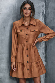 Double Pocket Buttoned Shirt Dress