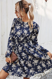 Slim Print Long Sleeve Dress