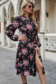 Flower Pattern Slit Dress