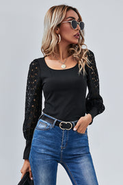 Square Neck Slim Long Sleeves