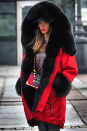 Hooded Fur Collar Drawstring Coat