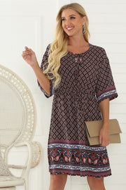 A-line Belt Five-point Sleeve Dress