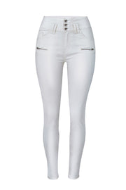 Leather Zipper Slim Pants
