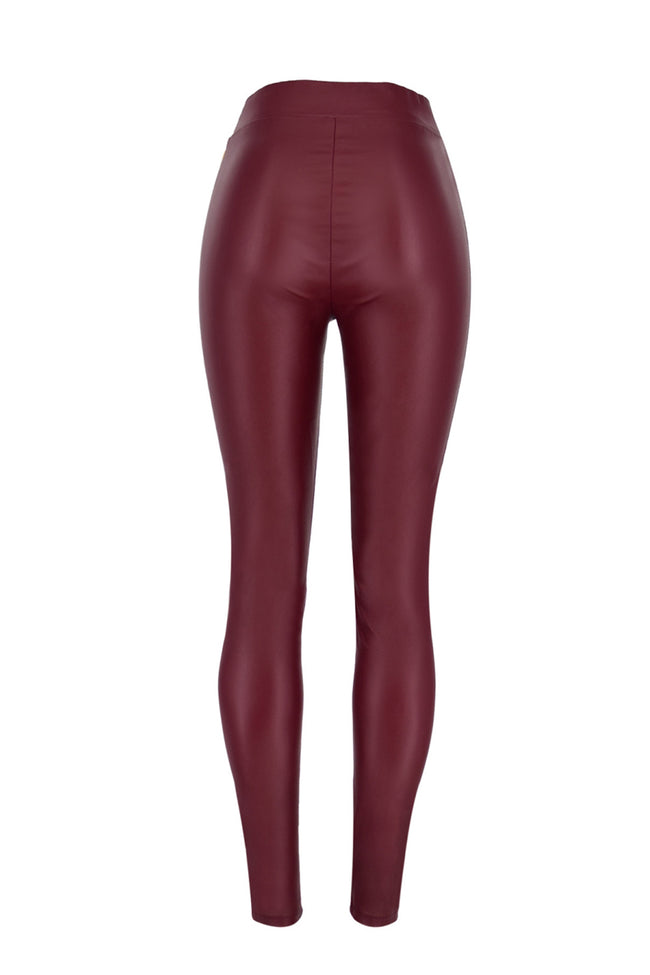 Leather Metal Perforated Lace-up Leggings
