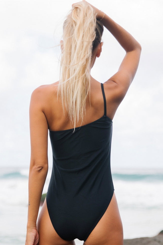 One Shoulder Plain One Piece