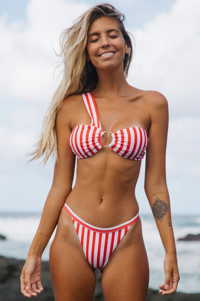 Orangered Striped One Shoulder Bikini Set