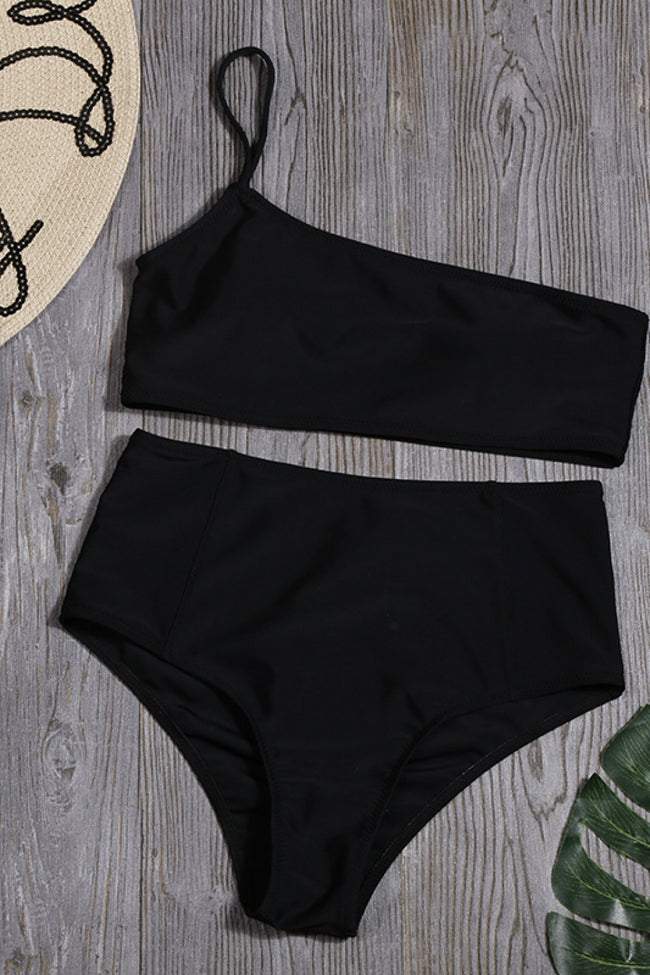 One Shoulder Plain Bikini Set