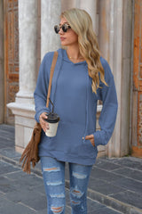 Hooded Pocket Solid Color Sweater