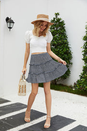 Printed Floral Pleated Ruffle Skirt
