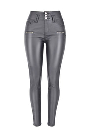 Solid Color Slim Zipper Leather Pants