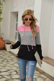 Contrast Long Sleeve Hooded Sweater